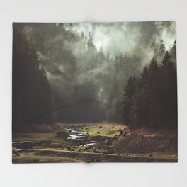 Foggy Forest Creek Throw Blanket