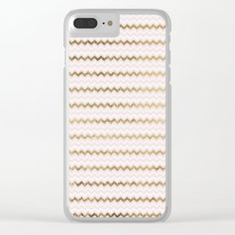 Modern chic faux gold blush pink chevron Clear iPhone Case
