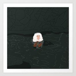 Snow Monkey in Onsen Art Print