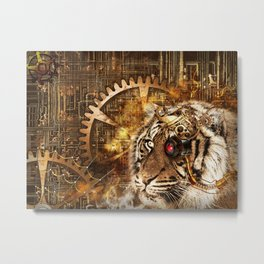 Steampunk gears and lion background Metal Print