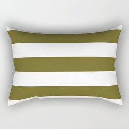 Antique bronze - solid color - white stripes pattern Rectangular Pillow