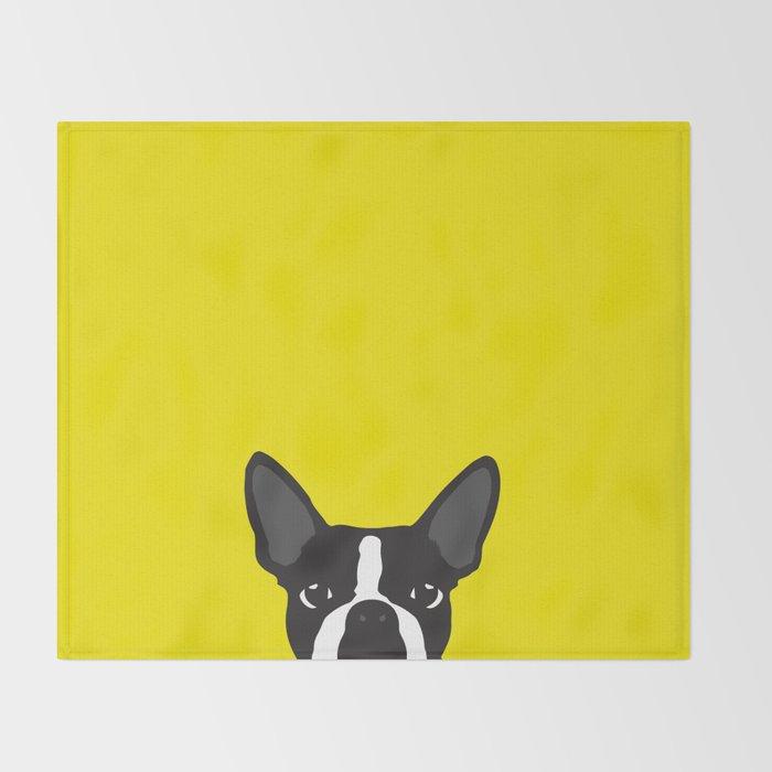 Boston Terrier Yellow Throw Blanket