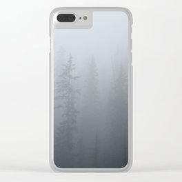 Ghost Pines - Forest Fog Photograph, Tree Photo Print, Nature Photography Clear iPhone Case