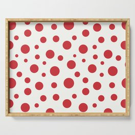 Red circles of different sizes over beige background Serving Tray