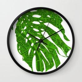 Monstera in Seville Wall Clock