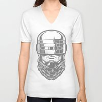 robocop V-neck T-shirts featuring Hey, Robocop! by OneAppleInBox