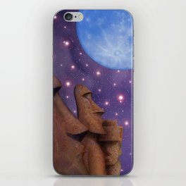 Moai & Moon in Universe iPhone Skin