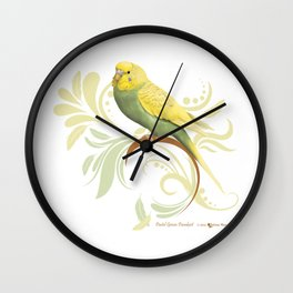 Pastel Green Parakeet Wall Clock