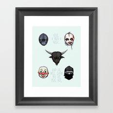 American Horror Masks Framed Art Print