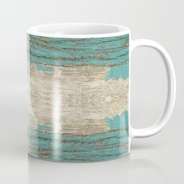 Rustic Wood - Weathered Wooden Plank - Beautiful knotty wood weathered turquoise paint Coffee Mug