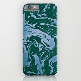 Flooded Grasslands - green blue swirl abstract pattern iPhone Case