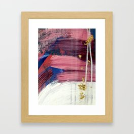 Los Angeles [3]: A vibrant, abstract piece in reds and blues and gold by Alyssa Hamilton Art Framed Art Print