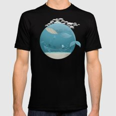 Seagull rest over whale MEDIUM Mens Fitted Tee Black