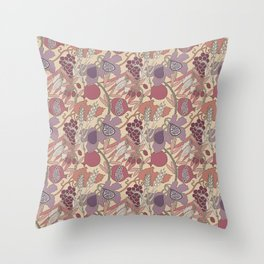 Seven Species Botanical Fruit and Grain in Mauve Tones Throw Pillow