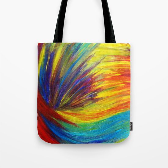 RAINBOW EXPLOSION - Vibrant Smile Happy Colorful Red Bright Blue Sunshine Yellow Abstract Painting  Tote Bag