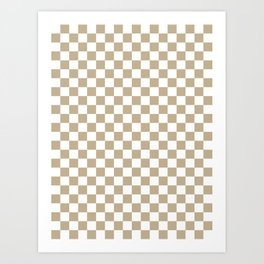 Small Checkered - White and Khaki Brown Art Print