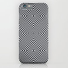 Minimal Geometrical Optical Illusion Style Pattern in Black & White iPhone 6s Slim Case