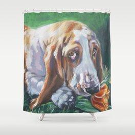 Beautiful Basset Hound dog portrait art an original painting by L.A.Shepard Shower Curtain