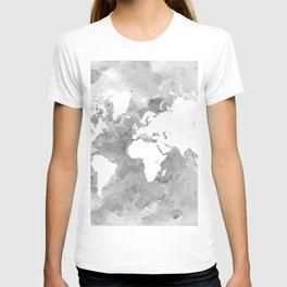 Design 49 Grayscale World Map T-shirt