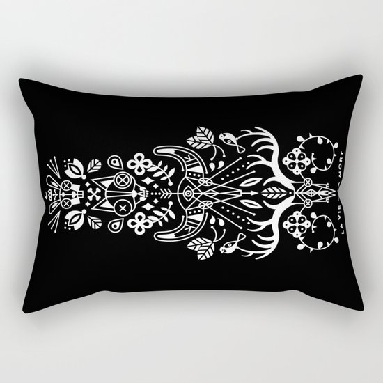 La Vie + La Mort: White Ink Rectangular Pillow