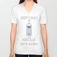 vodka V-neck T-shirts featuring Keep calm vodka - BRivido by Raffaele Borreca