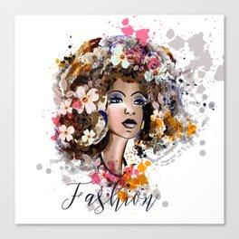 Tropical beauty. Fashion illustration Canvas Print