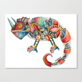 Steampunk Chameleon Watercolour Painting Canvas Print