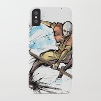 avatar the last airbender iPhone & iPod Cases featuring Aang from Avatar the Last Airbender sumi/watercolor by mycks