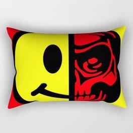 Smiley Face Skull Yellow Red Rectangular Pillow