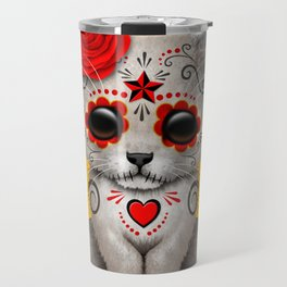 Red and Yellow Day of the Dead Sugar Skull White Lion Cub Travel Mug