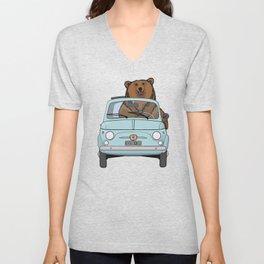 A smiling bear driving a small light blue car Unisex V-Neck