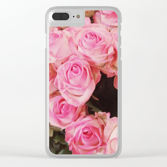 Pink Roses Clear iPhone Case