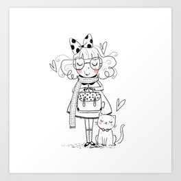 girl and the cat Art Print