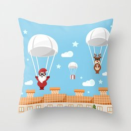 Santa Claus and reindeer parachutists delivering presents Throw Pillow