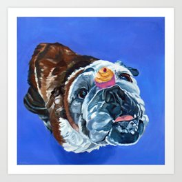 Millie the Bulldog and Her Cupcake Art Print