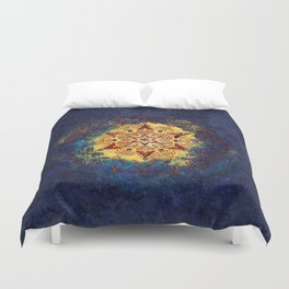 Star Shine in Gold and Blue Duvet Cover