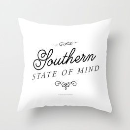 Southern State of Mind (Black) Throw Pillow
