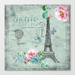 Paris - my love - France Eiffeltower Nostalgy - French Vintage Canvas Print