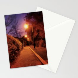 Street lights, trees, bushes, just walking on my brick road at dawn. Stationery Cards