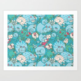 Sleepy Animal Forest Art Print