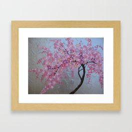 Pink cherry blossom - sakura with silver background Framed Art Print