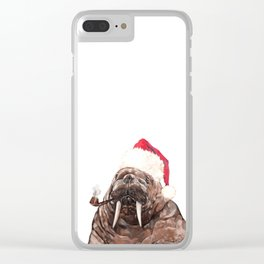 Christmas Daddy Walrus Clear iPhone Case