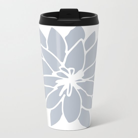 Flower Bluebell Blue on White Metal Travel Mug