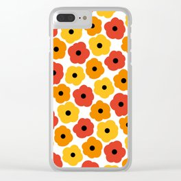 Mid Century Modern Poppy Flowers - Yellow, Orange, Red Clear iPhone Case