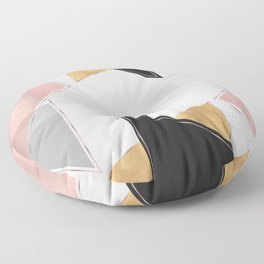 Stylish Gold and Rose Pink Geometric Abstract Design Floor Pillow