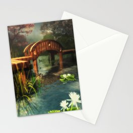 Wooden bridge over lotus pond Stationery Cards