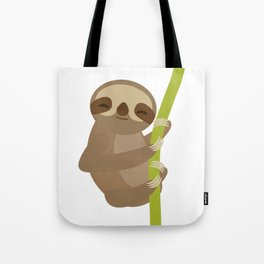 funny and cute smiling Three-toed sloth on green branch Tote Bag