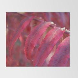 Radiant Red Sumac Leaves Throw Blanket