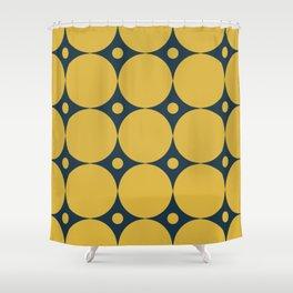 Futura Mid-century Modern Minimalist Abstract Pattern in Mustard Yellow and Navy Blue Shower Curtain