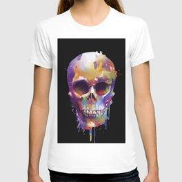 colorful skull black T-shirt